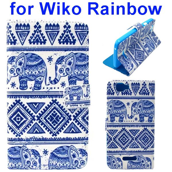 Colored Drawing Style Flip Wallet Leather Case Cover for Wiko Rainbow(Elephant)