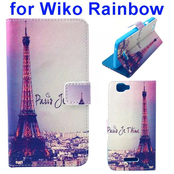 Colored Drawing Style Flip Wallet Leather Case Cover for Wiko Rainbow(Tower)