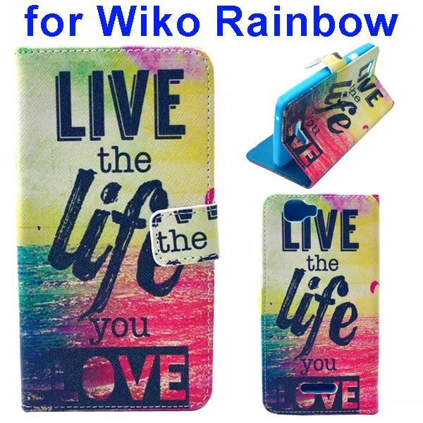 Colored Drawing Style Flip Wallet Leather Case Cover for Wiko Rainbow(Life)