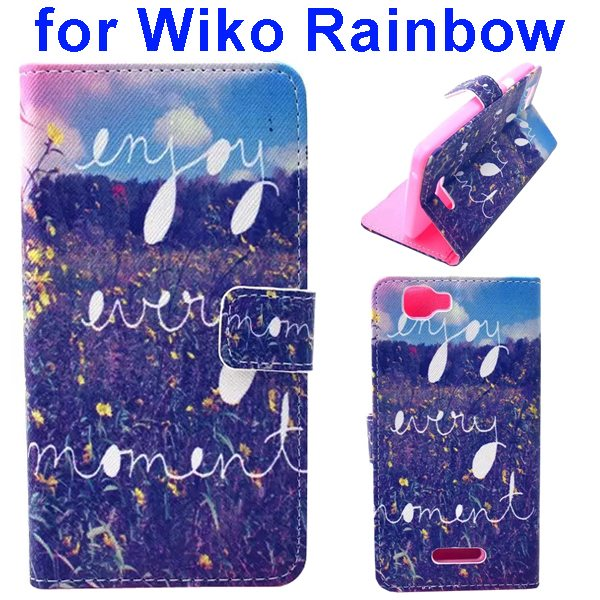 Colored Drawing Style Flip Wallet Leather Case Cover for Wiko Rainbow(Field)
