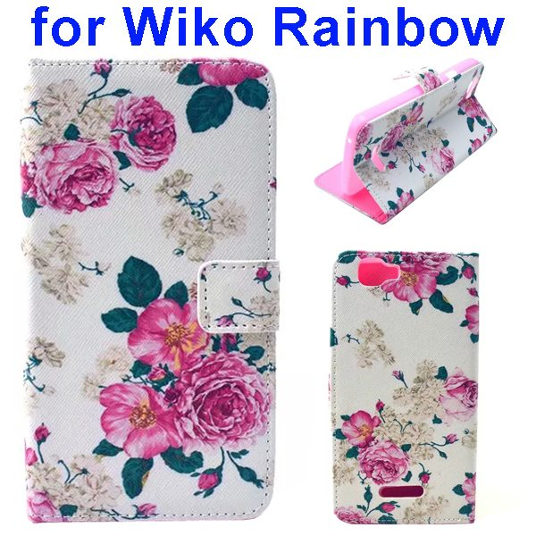 Colored Drawing Style Flip Wallet Leather Case Cover for Wiko Rainbow(Flower)