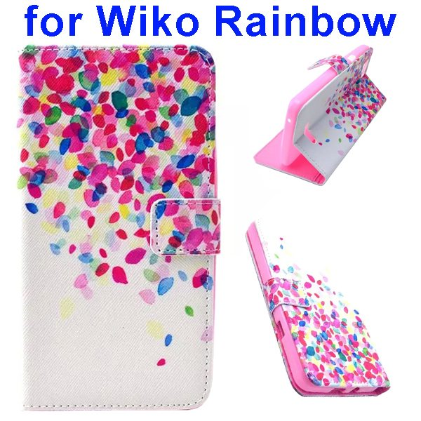 Colored Drawing Style Flip Wallet Leather Case Cover for Wiko Rainbow(Colorful Leaves)