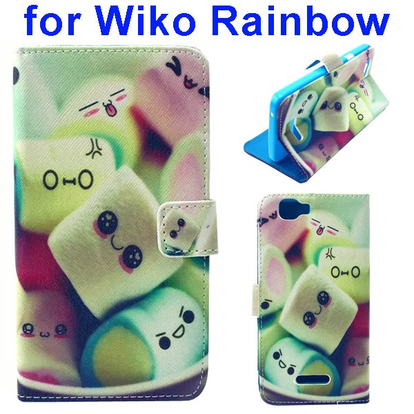 Colored Drawing Style Flip Wallet Leather Case Cover for Wiko Rainbow(Cute Face)