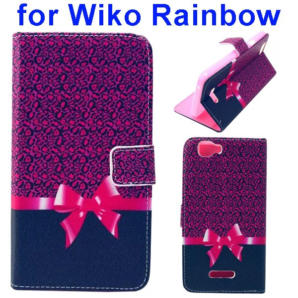 Colored Drawing Style Flip Wallet Leather Case Cover for Wiko Rainbow(Bowknot)
