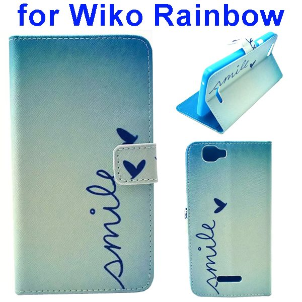Colored Drawing Style Flip Wallet Leather Case Cover for Wiko Rainbow(Smile)