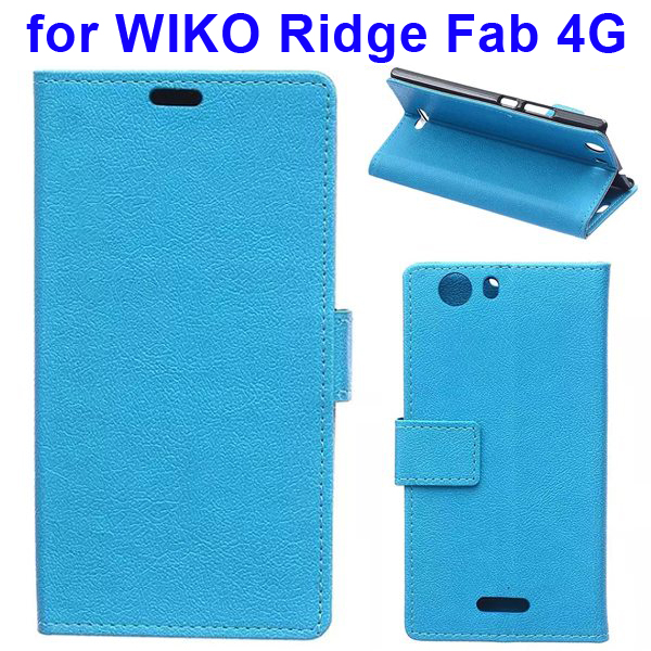 Karst Texture Flip Stand Wallet Style PU Leather Phone Case for WIKO Ridge Fab 4G (Blue)