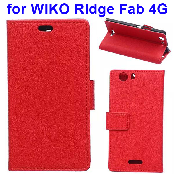 Karst Texture Flip Stand Wallet Style PU Leather Phone Case for WIKO Ridge Fab 4G (Red)