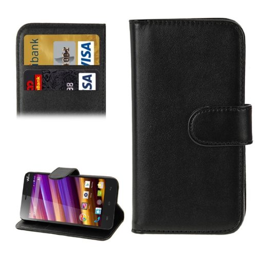 Horizontal Flip Magnetic Buckle Wallet Style PU Leather Case for Wiko Jimmy with Card Slot (Black)