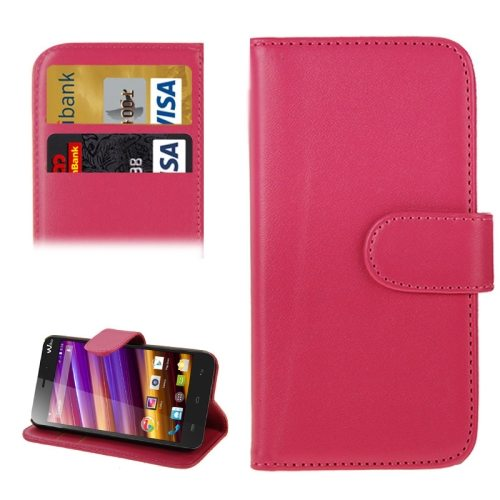 Horizontal Flip Magnetic Buckle Wallet Style PU Leather Case for Wiko Jimmy with Card Slot (Rose)