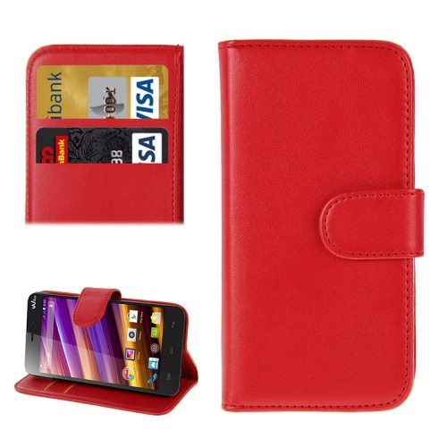 Horizontal Flip Magnetic Buckle Wallet Style PU Leather Case for Wiko Jimmy with Card Slot (Red)