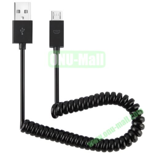 Coiled Micro USB Cable for Samsung Galaxy S4S3Note 2, Nokia, LG, Sony, etc (can be extended up to 1.1m)