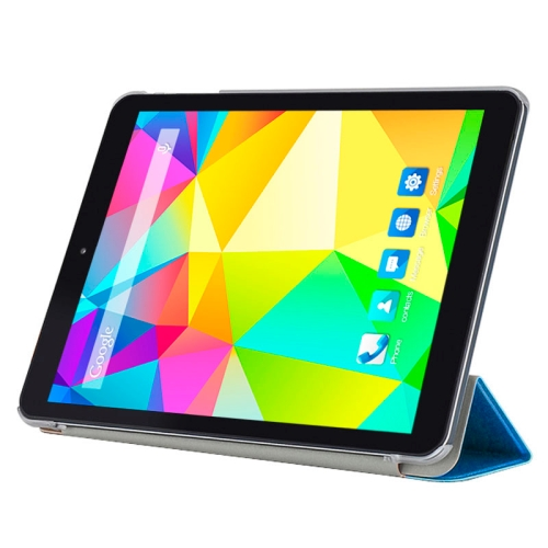 CUBE Ultrathin 3 Folding Protective Flip Leather Case for CUBE i6 Tablet PC with Transparent Back Cover (Blue)