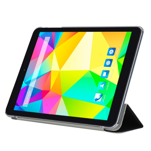 CUBE Ultrathin 3 Folding Protective Flip Leather Case for CUBE i6 Tablet PC with Transparent Back Cover (Black)