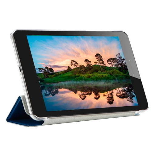 3-folding Pattern Ultrathin Flip Protective Leather Case for CUBE T7 Tablet PC with Stand (Dark Blue)