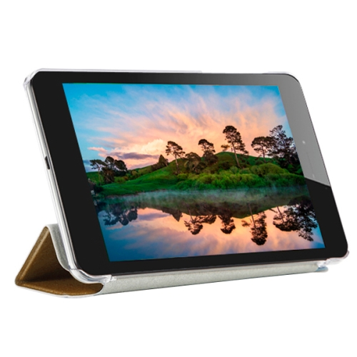 3-folding Pattern Ultrathin Flip Protective Leather Case for CUBE T7 Tablet PC with Stand (Gold)