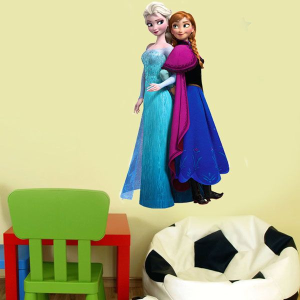 Frozen Film Elsa and Anna Design Lifelike DIY PVC Wall Sticker for Kids Room (Size: 40*74cm)