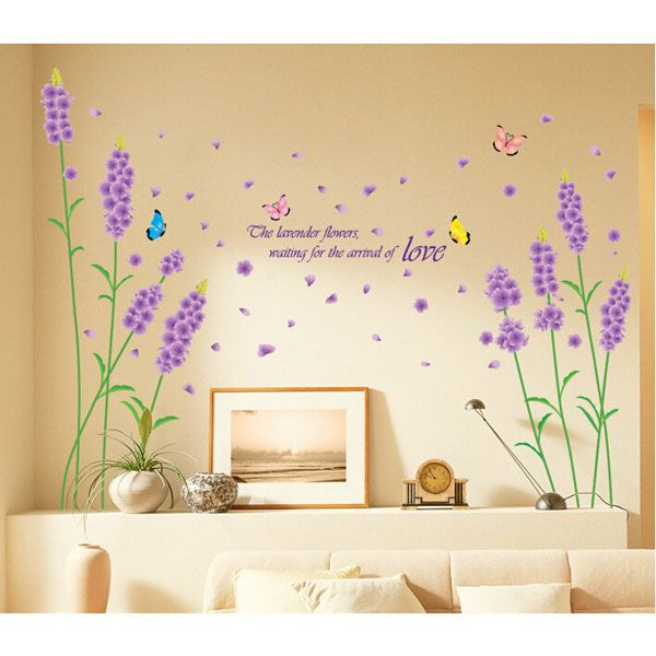 Lavender and Butterfly Design Beautiful PVC DIY Wall Sticker to Decorate Your Room (Size: 50*70 cm)