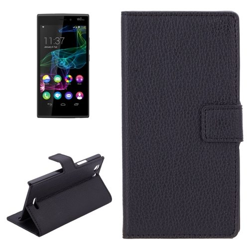 Litchi Texture Horizontal Wallet Style Flip Leather Case for WIKO RIDGE 4G with Holder and Card Slots (Black)