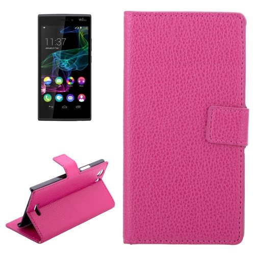Litchi Texture Horizontal Wallet Style Flip Leather Case for WIKO RIDGE 4G with Holder and Card Slots (Magenta)