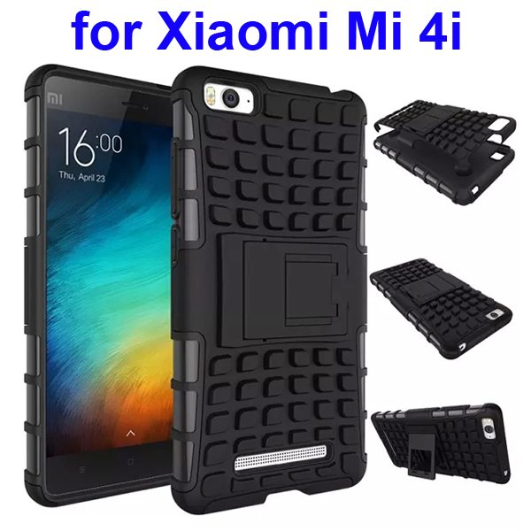 2 In 1 Pattern Shockproof Silicone and PC Hybrid Case for Xiaomi Mi 4i with Kickstand (Black)