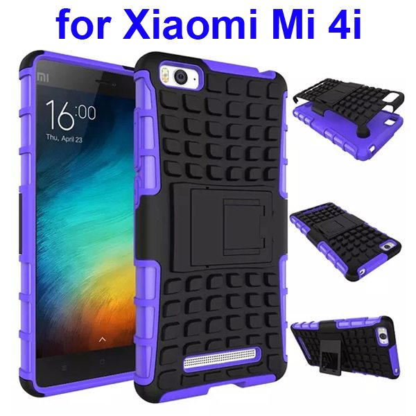 2 In 1 Pattern Shockproof Silicone and PC Hybrid Case for Xiaomi Mi 4i with Kickstand (Purple)