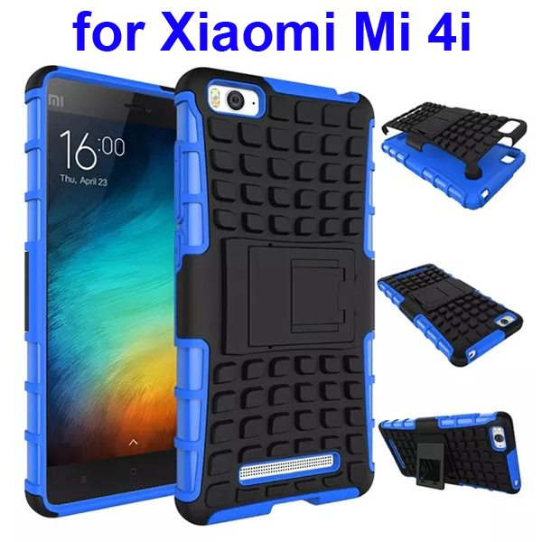 2 In 1 Pattern Shockproof Silicone and PC Hybrid Case for Xiaomi Mi 4i with Kickstand (Blue)