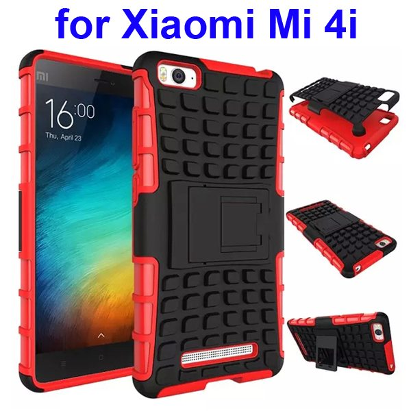 2 In 1 Pattern Shockproof Silicone and PC Hybrid Case for Xiaomi Mi 4i with Kickstand (Red)