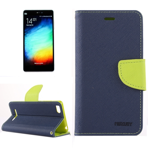 Cross Texture Horizontal Flip Leather Case for Xiaomi Mi 4i with Holder & Card Slots & Wallet (Blue)