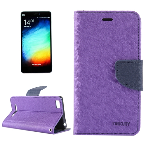 Cross Texture Horizontal Flip Leather Case for Xiaomi Mi 4i with Holder & Card Slots & Wallet (Purple)