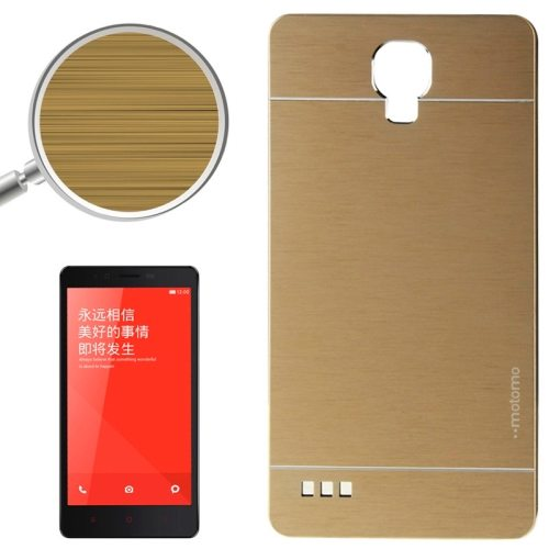 Brushed Texture Metal & Plastic Protective Case for Xiaomi Redmi Note(Gold)