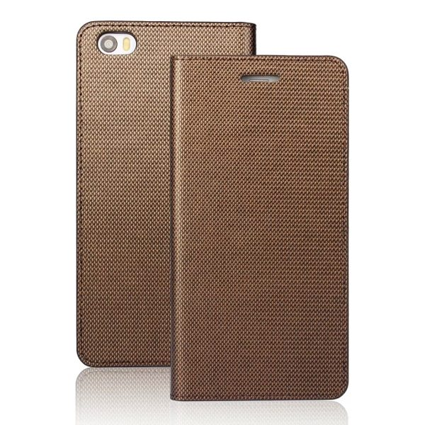 Grid Pattern Flip Wallet Genuine Leather Cover for Xiaomi Note (Gold)