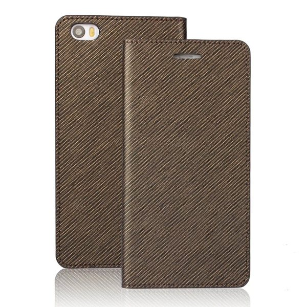 Grid Pattern Flip Wallet Genuine Leather Cover for Xiaomi Note (Light Brown)