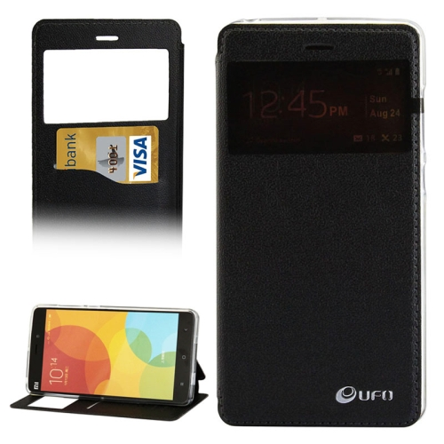 UFO Orange Peel Texture Caller ID Display Style Flip Leather Wallet Case for Xiaomi Mi Note (Black)