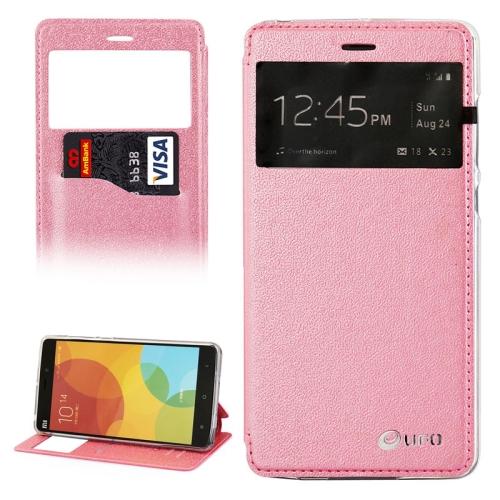 UFO Orange Peel Texture Caller ID Display Style Flip Leather Wallet Case for Xiaomi Mi Note (Pink)