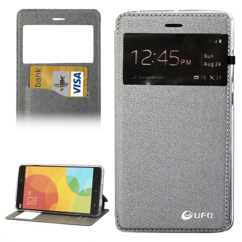 UFO Orange Peel Texture Caller ID Display Style Flip Leather Wallet Case for Xiaomi Mi Note (Gray)