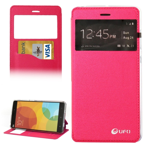 UFO Orange Peel Texture Caller ID Display Style Flip Leather Wallet Case for Xiaomi Mi Note (Rose)