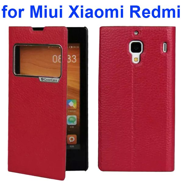 Litchi Texture Wallet Flip Leather Case for Miui Xiaomi Redmi With Caller ID Display Window (Red)