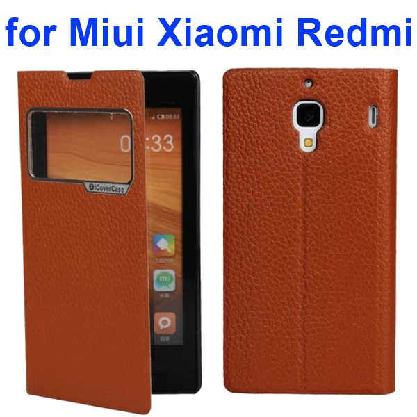 Litchi Texture Wallet Flip Leather Case for Miui Xiaomi Redmi With Caller ID Display Window (Brown)