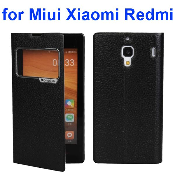 Litchi Texture Wallet Flip Leather Case for Miui Xiaomi Redmi With Caller ID Display Window (Black)