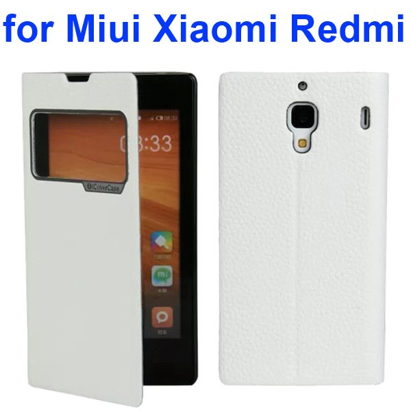 Litchi Texture Wallet Flip Leather Case for Miui Xiaomi Redmi With Caller ID Display Window (White)