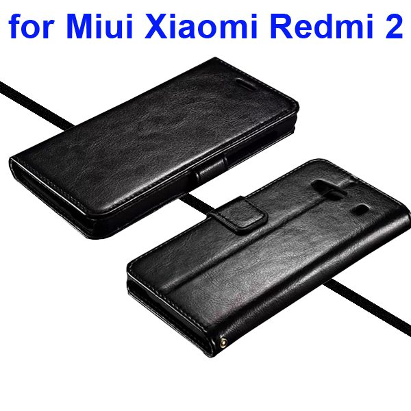 Smooth Texture Wallet Flip Leather Case for Miui Xiaomi Redmi 2 (Black)