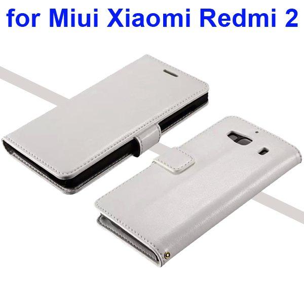 Smooth Texture Wallet Flip Leather Case for Miui Xiaomi Redmi 2 (White)