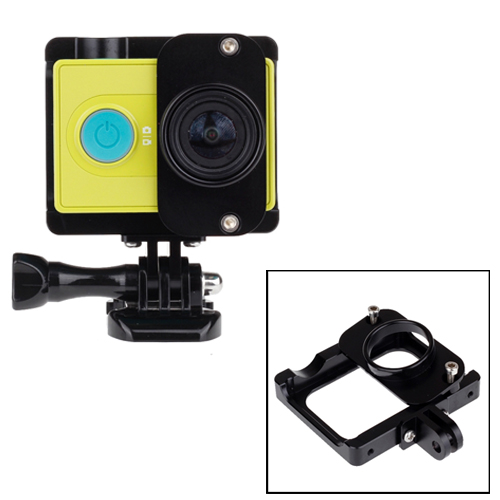 Lightweight CNC Aluminum Frame Mount Housing with Aluminum Lens Cover for XiaoMi Xiaoyi Sport Camera (Black)
