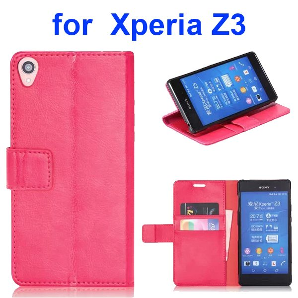 Smooth Texture Soft TPU and PU Leather Wallet Flip Case Cover for Sony Xperia Z3 (Rose)