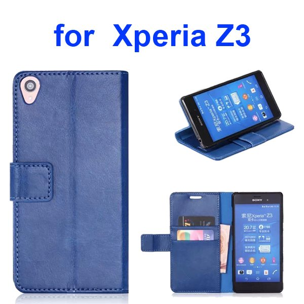 Smooth Texture Soft TPU and PU Leather Wallet Flip Case Cover for Sony Xperia Z3 (Dark Blue)