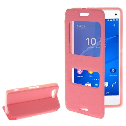 Fashion Design Magnetic Snap Flip Leather Case for Sony Xperia Z3 Compact with Caller ID Window(Pink)