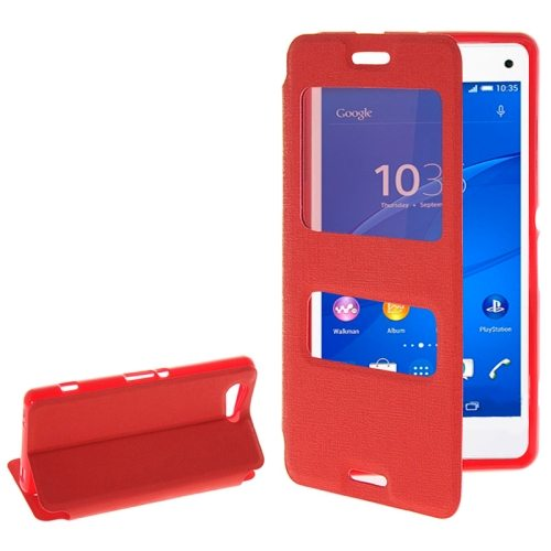 Fashion Design Magnetic Snap Flip Leather Case for Sony Xperia Z3 Compact with Caller ID Window(Red)