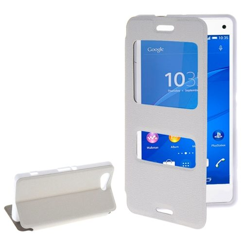 Fashion Design Magnetic Snap Flip Leather Case for Sony Xperia Z3 Compact with Caller ID Window(White)