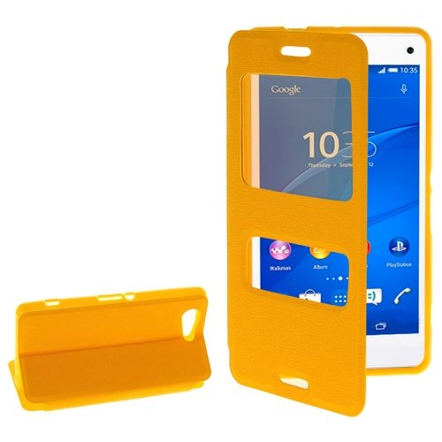 Fashion Design Magnetic Snap Flip Leather Case for Sony Xperia Z3 Compact with Caller ID Window(Orange)