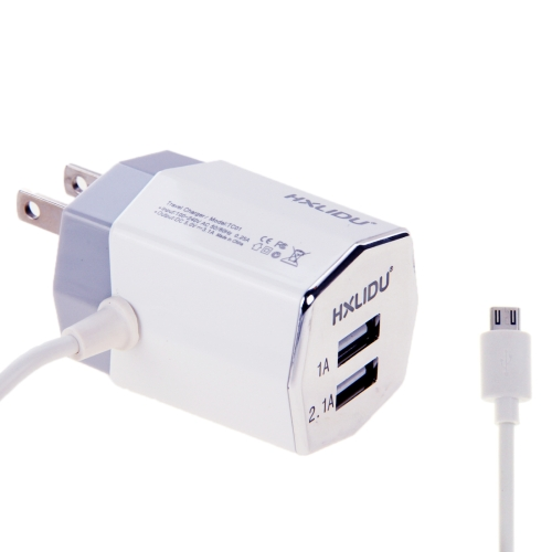 2 USB Ports Travel Charger for iPhone for Samsung for Motorola etc. and Other Mobile Decices with Micro USB Cable, US Plug
